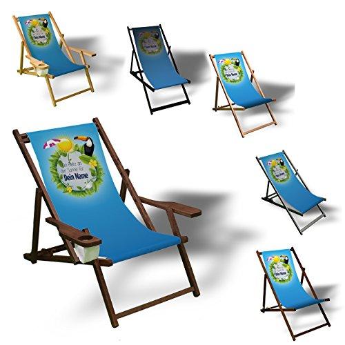 Printalio - Wunschtext - Platz an der Sonne - Liegestuhl Bedruckt Balkon Garten Sonnenliege Relax Holz Terrasse | mit Armlehne, Natur