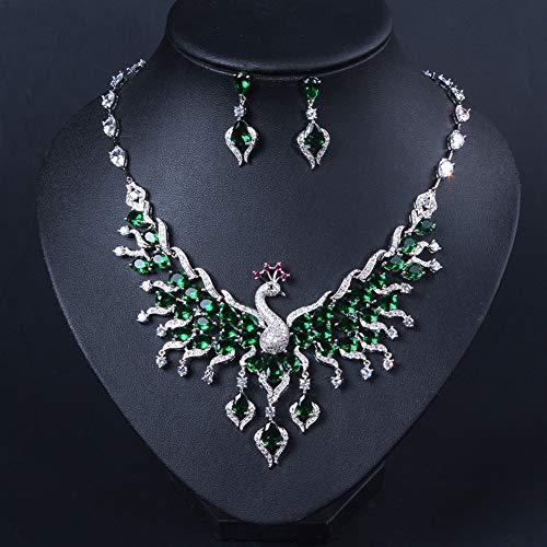 Ethnische Pfau Thema Exotische Emaille Bunte Zirkon Brautschmuck Halskette Sets Für Frauen,B