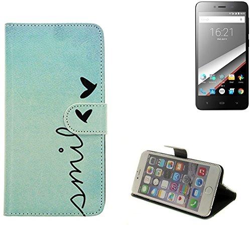 360° Wallet Case Schutz Hülle für Phicomm Clue L, ''smile'' | Smarpthone Flip cover Flipstyle Tasche - K-S-Trade (TM)