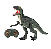 HTUK® RC Remote Control Dinosaur Walks Roars Lights Up Infra Red Control Walking Dinosaurs (Green)