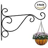 Unbekannt 2 Stück Blumenampel Halterung aus pulverbeschichteten Stahl für Blumenampeln, Halterung für Windspiele mit Schrauben ca. 30cm x 24 cm, rostfei