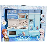 RIANZ Frozen Kitchen Play Set For Your Baby Girl, Battery Operated Play Set With Refrigerator, Accessories, Fruits, Music And Lights, Pretend Play Toy, Birthday Gift For Kids