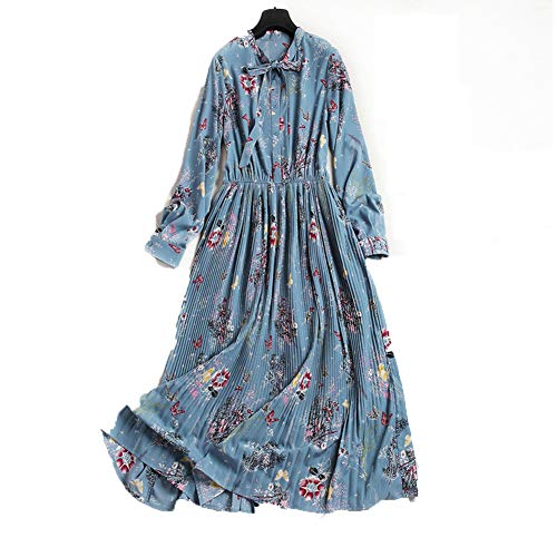 GQJQWE Ethnischen Stil Retro Langarm-Chiffon-Kleid Rundhalsausschnitt hohe Taille Krawatte Langen A-Linie Rock sanften Wind faltig floral Langen Rock weiblich -