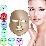 [neue Version 2017] Havenfly LED Photonen-Therapie 7 Farben Licht treatment Beauty Skin Care Verjüngung Pototherapy Maske PDT Beauty Face Pflege für Zuhause (Golden)