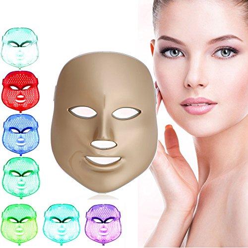[nueva versión 2017] Havenfly LED terapia de fotones con 7 colores, tratamiento facial de belleza, cuidado de la piel, rejuvenecimiento con fototerapia, mascarilla PDT de belleza facial para el hogar (de oro)