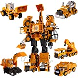 Diecast Trans Engineering Truck Vehicle Cars Model Transformers Action Figure Diecast Trucks Toys 5 in 1 (Transformer Big Boy + Shark + Babel + Remi + Crush)