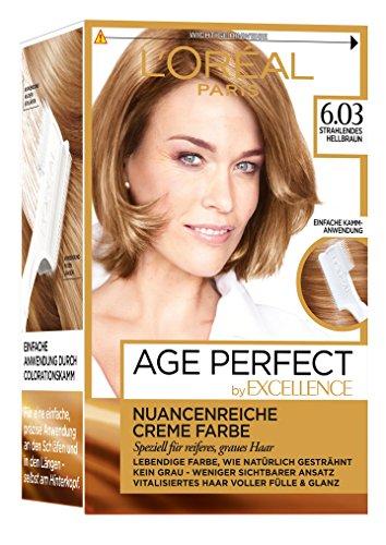 L'Oréal Paris Excellence Age Perfect Coloration, 6.03 strahlendes hellbraun, 3er Pack (3 x 1 Stück)