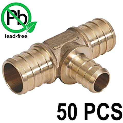 3/4 x 3/4 x 1/2 PEX Barbed Tee - Brass Crimp Fitting Bag of 50 PCS / Brass / .75 x .75 x .5