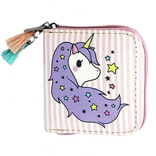 c94dad9d93544 SEVENHOPE Mädchen Einhorn Brieftasche Kurz Geldbörse mit Reißverschluss Clutch  Portemonnaie.