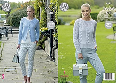 King Cole 4936 Knitting Pattern Womens Raglan Cardigan and Sweater in King Cole Luxury Merino DK