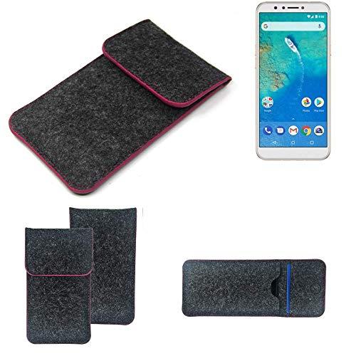 K-S-Trade® Filz Schutz Hülle Für -General Mobile GM 8- Schutzhülle Filztasche Pouch Tasche Case Sleeve Handyhülle Filzhülle Dunkelgrau Rosa Rand