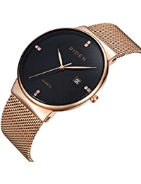 Watch,Watches Men Black, Rose Gold Stainless Steel Classic Luxury Business Casual Watches Waterproof Casual Analog...