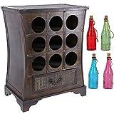 Botellero para 9 Botellas de Vino  Soporte Altura 65cm  Contrachapado  Diseño  Estilo Colonial  con Cadena Luces Led  Colorido 25cm Alto