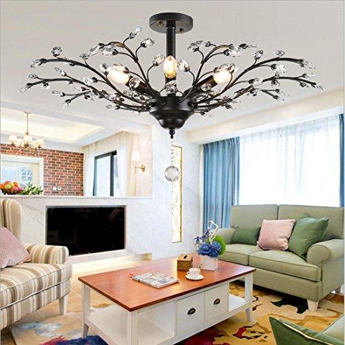 HT American Vintage cristallo ramo soggiorno / den / sala da pranzo / camera da letto / caffè / lampadario a soffitto , wide 60cm high 30cm black - Pulsante Politico Vintage