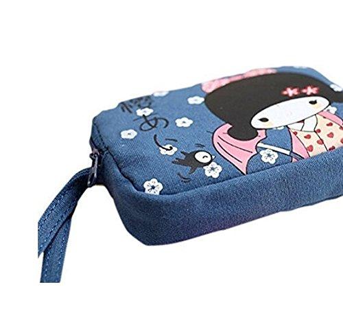 dahanbl Süße Reißverschluss Geldbörse COIN Tasche Japanisches Mädchen Print Leinwand Double Bag
