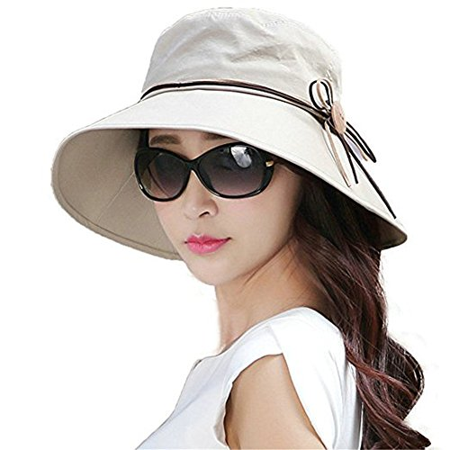 Packable Wide Brim Sun Bucket Hat Adjustable UPF 50+ Sun Protection Hat Cap Travel Beach Sunhat with Cord Chin Strap Test