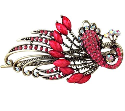 cuhair (TM) Mutter 's Day Geschenk 1Punk Peacock Metall Kristall Design für Frauen Mädchen Haar Clip Haarspangen Claw Zubehör -