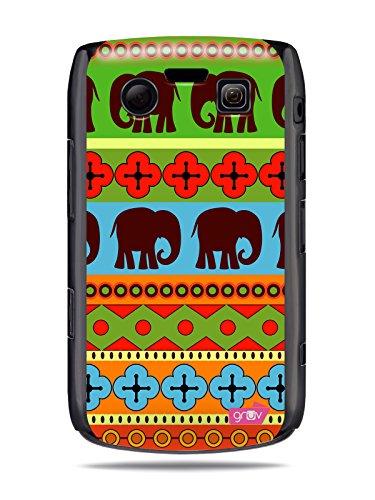 """GRÜV Premium Case - Design """"Afrikanische Elefanten, Tribalkunst"""" - Qualitativ Hochwertiger Druck Schwarze Hülle - für Blackberry Bold 9700 9780"""