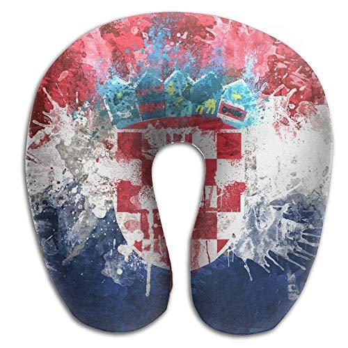 RGFJJE maternité et Corps Retro Style Croatia Fulgurant Flag Republic Memory Foam U-Shaped Pillow,Fashion Travel Rest Pillow for Neck Pain,Breathable Soft Comfortable Adjustable Oreillers Camping