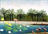 Posterlounge Leinwandbild 100 x 70 cm: Die Flamingos von Henri Rousseau/akg-Images - fertiges Wandbild, Bild auf Keilrahmen, Fertigbild auf echter Leinwand, Leinwanddruck