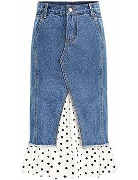 QPSSP-cintura alta Denim vestido vestido de cola de pez Fake dos piezas cosidas delantal Falda Mujer cuerpo superior