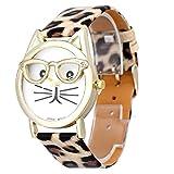 Unbekannt Damenuhr, niedliche Brille, Katzenarmband, Leopardenmuster