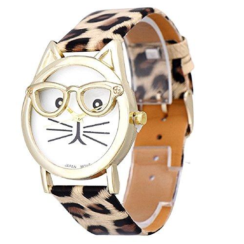 Xinjiener Damenuhr, niedliche Brille, Katzen-Armband, Leopardenmuster