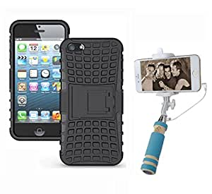 Aart Hard Dual Tough Military Grade Defender Series Bumper back case with Flip Kick Stand for Iphone 5G + Aux Wired Mini Pocket Selfie Stick by Aart store.