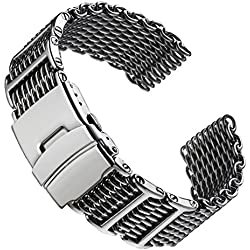 Geckota® Chainmail SHARK MESH Dive H-Link Stainless Steel Watch Strap Polished 20mm