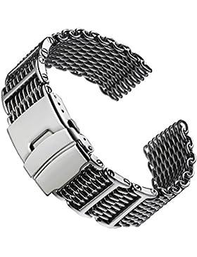 Hai Maschen Dive/Taucher H-Link Uhrenarmband von Geckota® aus Edelstahl im polierten Finish, 20mm