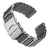 Cinturino orologio Geckota Acciaio inossidabile Maglia squalo Oro Lucido 22mm