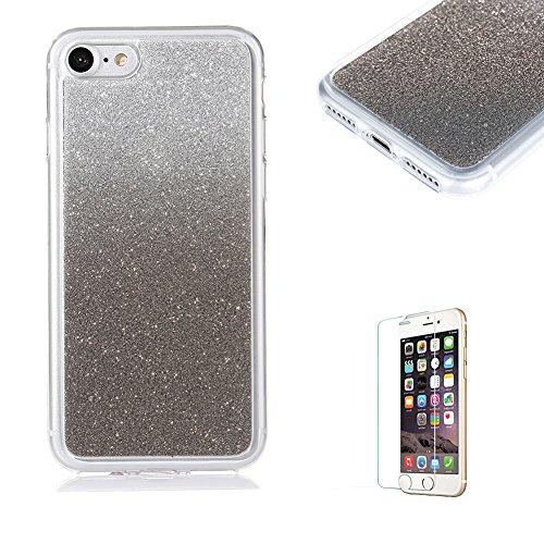Für iPhone 7 Plus 5.5 Zoll Ultra Dünn Silikon Tasche,Für iPhone 7 Plus 5.5 Zoll Bling Glitter Schutz Hülle mit Liebe Herzen Ring Halter,Funyye Luxus [Herzen Ring Gold Gradient Farbe] Sparkles Glänzend Schwarz Gradient