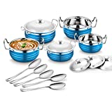#9: Classic Essentials Stainless Steel Handi Set, 10-Pieces, Blue