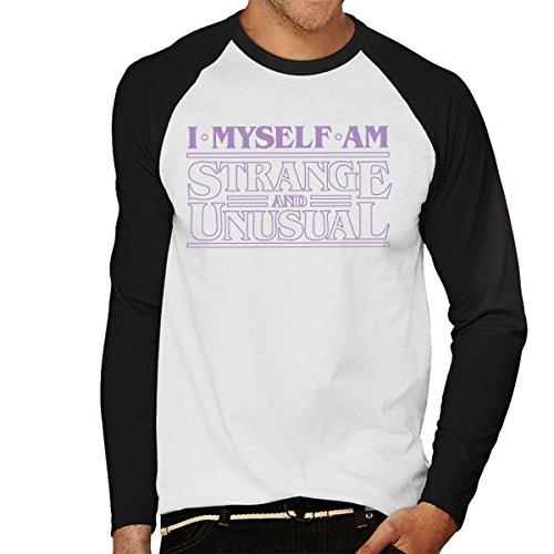 I Myself Are Strange And Unusual Stranger Things Men's Baseball Long Sleeved T-Shirt White/Black