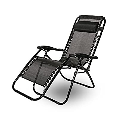Leisure Zone® zero gravity chair Folding Reclining Chair Lounge Reclining Garden Patio Furniture Camping Chair Textoline Deck Chair …