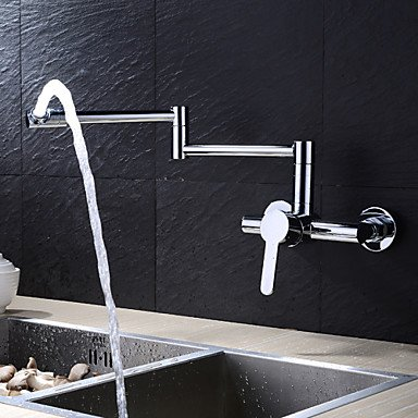 SHUYOU® Contemporary Extension Chrome Finish Brass Two Holes Single Handle Kitchen Faucet