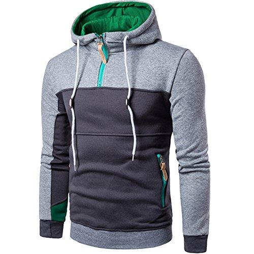Luckycat Patchwork Langarm Männer Pullover Mantel Ständer Collor Pullover Outwear Mode 2018 -