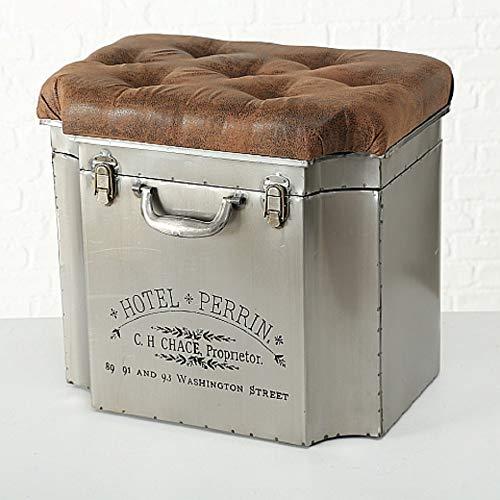 Home Collection Hocker als Truhe Eisen Box im Vintage Look Kolonial Kunstleder in Altlederoptik L52cm B37cm H47cm -