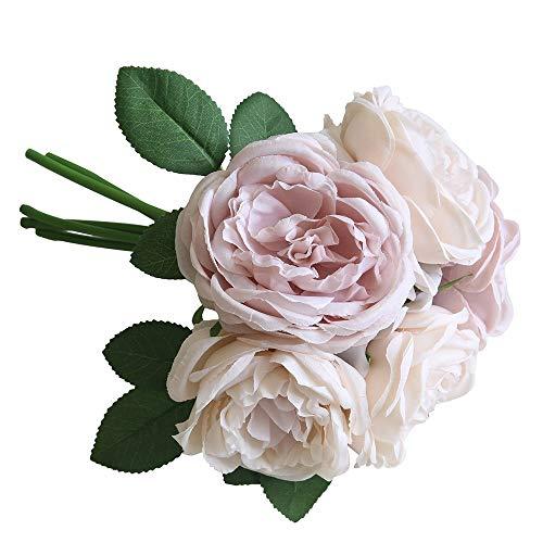 UEVOS Kunstblumen Kunstblumenstrauß Künstliche gefälschte Rose Seidenblumen 5 Simulationsblume Kopfblatt Gartendekor romantische Brautstrauß Muttertag Bouquet Wohnaccessoires (Brautsträuße Burgund)
