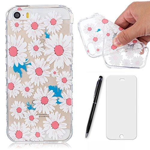 Preisvergleich Produktbild Lotuslnn Hülle Apple iPhone SE / 5 / 5S silikon avec Une fleur conception - Schutzhülle Etui en rose blanc Transparent