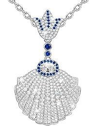 MARENJA - Collier Fantaisie Femme - Pendentif Coquille avec Chaîne - Bijoux Cristal en Plaqué Or Blanc