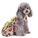 Eizur Pet Chien Robe de Princesse avec Bowknot ete Mignonne Élégant Tutu Robe Vêtements Costume Apparel pour Petits Chiens Chat Chiot Animaux Jaune--Taille L