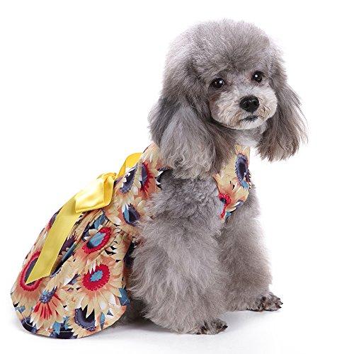 Eizur Haustier Hund Kleid Blumen Rock mit Bogen Welpen Hundekleid Party Tutu Haustier Katze Bowknot kleidung Hundebekleidung Kleidung für Frühling Sommer Gelb - Größe (Pirat Tutu)