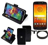 K-S-Trade® Case Schutz Hülle Für -Motorola Moto E5 Dual SIM- + Bumper Handyhülle Flipcase Smartphone Cover Handy Schutz Tasche Walletcase Schwarz (1x)