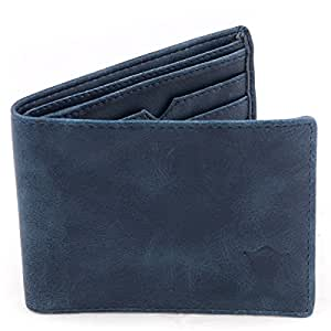 Creature Classic Bi-Fold PU Leather Blue Wallet for Men/Boys with Multiple Card Slots(F-01)