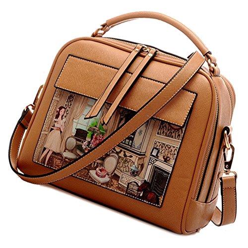 Borsa Donne - SODIAL(R)Borsa Scarabocchio di moda le donne modello di Donne sacchetto del messaggero a tracolla Borsello Signore Degli Top-sacchetto della maniglia (Rosa) cachi