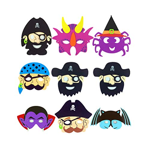 Amosfun Halloween-Masken für Cosplay Papier Piraten Geister Masken Halloween Party Trick Leckereien Party Supplies