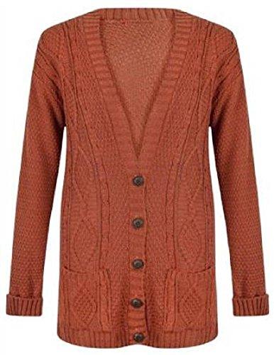 Bouton tricoté longues pour femmes Chunky câble Cardigan EUR Taille 36-54 rouille