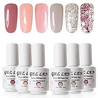 Gellen Gel Nail Polish 6 Colours UV LED Soak off Nail Art Manicure Salon Gift Set 8ml Each Bottle, 12