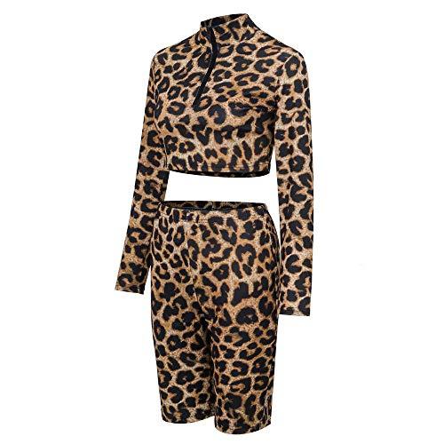 YULAND Damen Trainingsanzug Winter Jogginganzug Für Frauen, Frauen Sexy Leopard Print Mini Langarm Party Club Wrap Mode Anzug Print Wrap Jacke